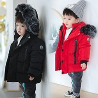 Wholesale girls duck down coat resale online - 2018 Kids Down Jacket Thickening White Duck Down Warm Coat Baby Girl Boy Big Raccon Fur Parkas Toddler Boys Warm Jacket