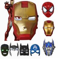 çocuklar için parti maskeleri toptan satış-LED Parlayan Süper Kahraman Maske için çocuk yetişkin Avengers Marvel Spiderman Ironman Kaptan Amerika Hulk Batman Parti Maskesi