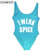 Wholesale swimwear 11 online - TWERK SPICE Funny Swimsuit Swimwear women Black One Piece Swimsuit biquini Bodysuit Bodysuits badpak high waist colors