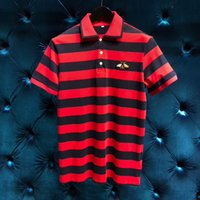 Wholesale business clothes summer - Men Polo Shirt 2018 brand Summer Men Business Casual Breathable red Striped Short Sleeve Polo Shirt Clothes Polos