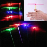 Wholesale helicopter day - Dragonfly Toy 2pcs Led Flying Dragonfly Helicopter Boomerang Frisbee Flash Child Toy Gift Aue Bamboo Dragonfly Stall Selling Luminous Toys