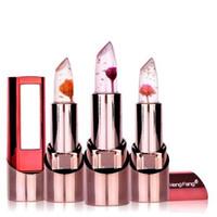 Wholesale hengfang lipsticks resale online - Flower Gold foil Lipstick Temperature changed Lip Balm Moisturizer Lips g Makeup Brand HengFang