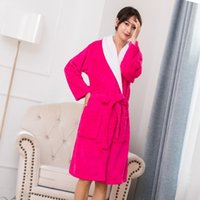 1d6d8b72a7 Women Flannel Bath Robe Sleepwear 2018 Autumn Winter Plush Bathrobe Thicken Warm  Female Robe Nightgown