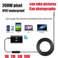 cámara endoscopio iphone al por mayor-HD720P 8mm Lente WIFI Endoscopio Cámara Serpiente USB para Iphone Android Borescope IOS Tablet Wireless Borescope Cámara cable suave