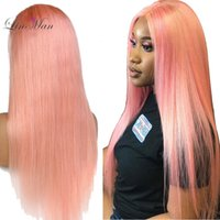 Wholesale babies pink hair resale online - LIN MAN Peruvian Remy Human Hair Pink Color Full Lace Wig Pre Plucked Hairline Straight Hair with Baby Hair Glueless Wigs