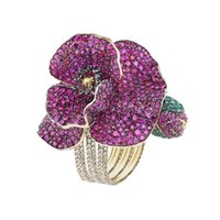 Wholesale three finger ring women online - Derongems_Luxury Fully Micropaved Rubies Gemstones Poppy Flower Rings_S925 Sterling Silver Finger Red Woman Rings_Facotry Directly Sales