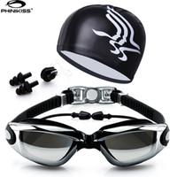 Wholesale Eyewear Glasses Nose - Wholesale-Swim Goggles With Hat and Ear Plug Nose Clip Suit Waterproof Swim Glasses anti-fog Professional Sport Swim Eyewear Suit