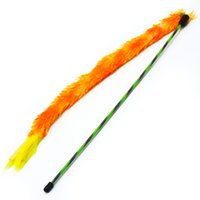Wholesale wholesale animal suppliers online - cat pet suppliers toy teaser with coloured flexibale plastic pole stick Orange natrual feather interactive full funny for kitten