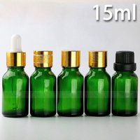 ingrosso 15ml bottiglie di olio essenziale verde-Bottiglie di contagocce di vetro verde 15ML con 4 stili Cap scelta per Eiquid Ejuice, bottiglie di olio essenziale di vetro verde 625 Pz / lotto DHL libero