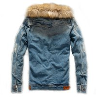 Wholesale mens fur jackets for winter for sale - Group buy Mens Denim Jacket With Fur Collar Retro Ripped Fleece Jeans Jacket And Coat For Autumn Winter Fashion Male