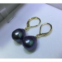 ingrosso orecchini di goccia oro giallo della perla-11 * 13mm Black South Sea Drop Pearl ciondola orecchino Leverback 14K oro giallo
