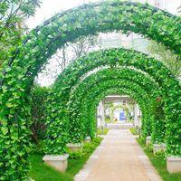 yapay yeşillik çiçeği toptan satış-240 cm Yapay Ivy Leaf Garland Bitkiler Vine Ev Bahçe Düğün Dekorasyon Için Sahte Yeşillik Çiçekler Rattan Yaprak Vine