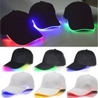Wholesale lights up hops online - LED Lighted Up Baseball Cap Glow Club Baseball Hip Hop Golf Dance Hat Optical Fiber Luminous Ball Caps Adjustable DDA734