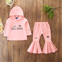 Wholesale cut piece clothes online - Baby Girls Tops Pants Suit Girls Eye Designer Clothes Boot Cut Trousers Ruffle Printed Pink Long Sleeve Letter GIRL SQUAD Autumn T