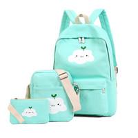 Wholesale cute backpacks for high school - Fashion Composite Bag Preppy Style Backpacks For Teenage Girls High Quality Nylon School Bags Cute Bear 3 Set Backpack Female
