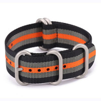 nylon 1,5mm großhandel-18 20 22 24mm Uhrenarmband mit 1,5 mm Stärke Qualität Nylon NATO Strap Heavy Duty gebürstet Schnalle schwarz-grau-orange schwarz / grau