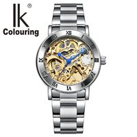 Wholesale Ladies Stainless Steel Skeleton Watch - Relogio Feminino Ladies Automatic Skeleton Watches Women Gold Tone Mechanical Watches Famous Top Brand IK Colouring Watches