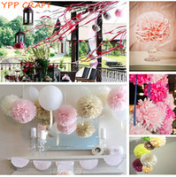 "Wholesale Pompom Paper - Wholesale-YPP CRAFT 4"" 6"" 8"" Mixed Wedding Decorative Props Tissue Paper Pompoms Pom Poms Balls Wedding Party Home Decor 30pcs"