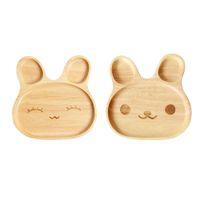 desenhos animados em madeira venda por atacado-Bandeja em forma de coelho Inovador Bonito Dos Desenhos Animados de Bambu Natural de Alimentação Do Bebê Sobremesa prato Louça crianças crianças louça pratos
