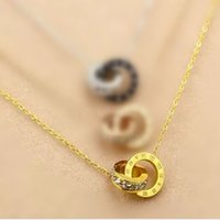 Wholesale Gold Double Rings - Korean version of the double ring fashion diamond pendant titanium steel rose gold diamond necklace stainless steel necklace manufacturers w