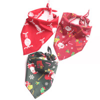 otoño invierno perro bandanas al por mayor-Perro rojo Pañuelos Bufanda de cuello Santa Elk Regalos de Navidad Perros Accesorios para mascotas Decoración de algodón Otoño 2018 Otoño Invierno 11 de noviembre