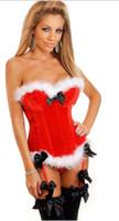 ingrosso legante corpo-Costumi di Natale sexy Babbo Natale Donne Corsetto Overbust Lingerie Bustier Velluto corpo Shapewear Steampunk Cincher Chest Binder