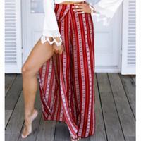770258352684a Casual High Waist Striped Wide Leg Trousers Women Loose Split Female 2018  Summer Boho Long Pants
