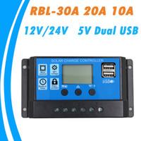 controlador de carga solar pantalla lcd al por mayor-24V 12V Control automático de la batería del panel solar 30A 20A 10A PWM Pantalla LCD Regulador del colector solar con salida dual USB Envío gratuito