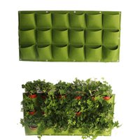 Wholesale Outdoor Garden Planters - 18 Pocket Flower Pots Planter On Wall Hanging Vertical Felt Gardening Plant Decor Green Field Grow Container Bags Outdoor