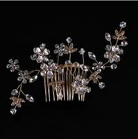 velos de novia de plata al por mayor-Peine de diamantes, sombreros de oro y plata hechos a mano, velo de novia, accesorios para el cabello, accesorios