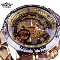 relógio de luxo vencedor venda por atacado-Vencedor Novo Número Esporte Design Bezel Ouro Assista Mens Relógios Top Marca de Luxo Montre Homme Relógio Dos Homens Automáticos Esqueleto relógio