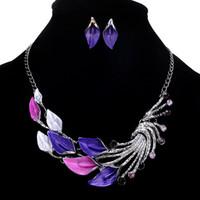lila pfau schmuck großhandel-2018 lila / blau / grün / schwarz elegante frauen dame pfau emaille bib halskette ohrstecker set modeschmuck sets 2 stil