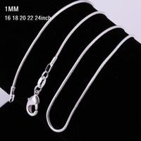 plata de ley para estampación al por mayor-1mm 16 ~ 24 pulgadas Plata de Ley 925 Collar de Cadena de Serpiente 925 Estampado Serpiente Collares Para Mujeres Joyería de Moda Descuento Barato 1 unids