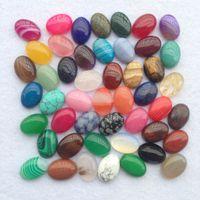 opalas soltas venda por atacado-Natural Pedra Ellipse Beads encantos soltos Acessórios DIY Bead Para fazer jóias Stripe Ametista Cristal Opal Flower Agate Etc Pedra 1 5wu Y