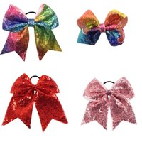 Wholesale Rainbow Bow Tie - Rainbow Cheer Bow Sequin Cheerleader Bow With Ponytail Holder Sparkle Cheerleader Sports Elastic Hair Ties For Girl