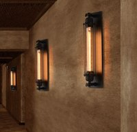 Wholesale Wrought Iron Wall - Vintage Edison Bulb Wall Lighting Lamp Fixture Wrought Iron Retro Loft Creative Personality Industrial Light for restaurant LLFA