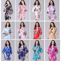 çiçekler cüppesi toptan satış-Yaz Giysileri Seksi kadın Ipek Kimono Robe Pijama Banyo Elbisesi Gecelik Pijama Kırık Çiçek Kimono Iç Çamaşırı Gecelik
