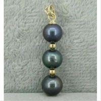 Wholesale natural round tahitian pearl - HOT 9-10MM BLACK NATURAL ROUND TAHITIAN PEARL PENDANT NECKLACE 14K GOLD