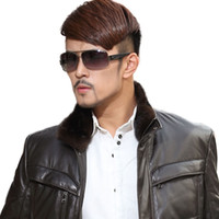 Wholesale men mink fur collar - Fashion Men Genuine Mink Fur Collar For Coat Leather Coat stand Collar Winter Warm Mink