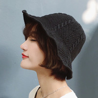 9ba6824dc17 2017 Winter New Fashion Women Casual Simple Bucket Hats Twist Sweet Curling Knitting  Sun Hats Female Folding Solid Color Caps