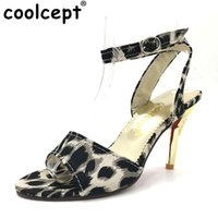 Wholesale leopard high heels peep toe - Coolcept leopard thin high heel sandals women open peep toe party shoes fashion ankle strap heeled footwear size 31-47 PB00134