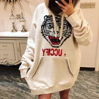 Wholesale loose nails online - Luxury brand early autumn models Italian designer heavy work nail drill chic tiger head sequins hooded loose sweater women s tide tops