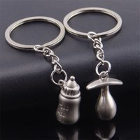 Wholesale keychain day wedding for sale - Cute Baby Bottle Keychain Pendant Souvenirs Wedding Favor Supplies Keyring Silver Feeding Bottle Key Buckle Hot xx Ww