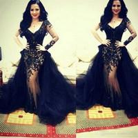 siyah çıkarılabilir etek toptan satış-Mütevazı Siyah Aplike Dantel Gelinlik Ile Ayrılabilir Etek Seksi Derin V Yaka Uzun Kollu Abiye giyim Mermaid Özel Durum Elbise