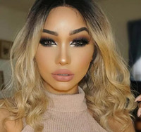 Wholesale Two Tone Blonde Short Wigs - Hot Sexy Two Tones 1b 27# Ombre Blonde Short Bob Curly Wavy Wigs Heat Resistant Glueless Synthetic Lace Front Wigs for Black Women