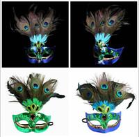 örümcek maskeleri tavuskuşu tüyleri toptan satış-Peacock Feather Maske Kadınlar Tavuskuşu Masquerade Maske Venedik Faux Elmas Dans Parti Maskeleri cadılar bayramı yarım yüz maskeleri 60 adet AAA1262