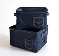 juguetes de vaqueros al por mayor-El nuevo paño de vaquero Decoración del hogar Cesto de lavandería Cesta de almacenamiento de escritorio plegable Caja de maquillaje Bolsa Niños Juguete Cubos de almacenamiento