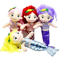 Wholesale 4 Colors Pink Yellow Red Purple Lovely Little Princess Mermaid Plush Dolls Girl Children Stuffed Toy for Baby Kids Birthday Gift