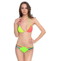 Wholesale swimsuit sales resale online - Woman Swimsuit Contrast Color Swimwear Lady Bikini Femme Sexy Summer Wear Adult Bandage Two Piece Suits Hot Sale gx V