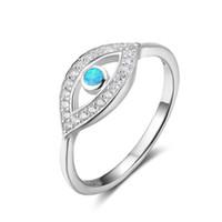 925 silberne halbsteine großhandel-Gute Qualität solide 925 Sterling Silber Lab erstellt Blue Opal Zirkonia Evil Eye Ring Halbedelstein Schmuck für Frauen
